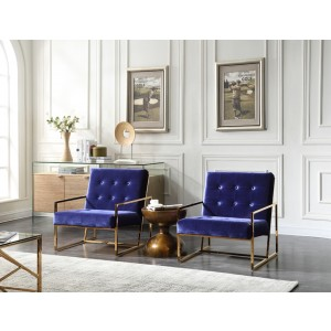 Modrest Samara Modern Blue & Gold Accent Chair