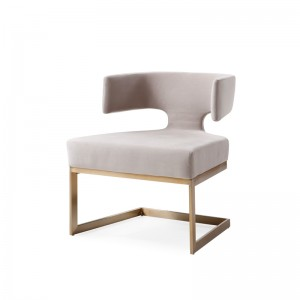 Modrest Calvo Modern Off-White Velvet & Brass Dining Chair