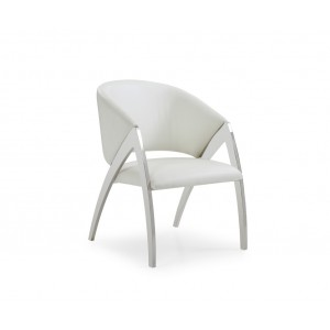 Modrest Rabia Modern White Leatherette Accent Chair