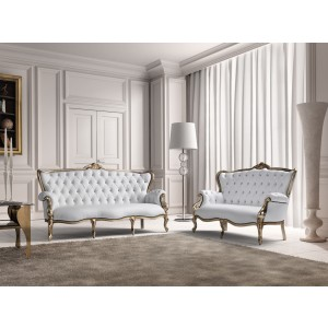 Estro Salotti Bach Modern White Leather Sofa and Loveseat