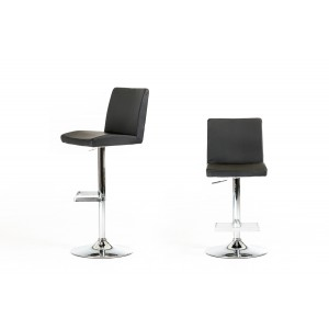 Modrest Ram Black Eco-Leather Bar Stool - Round Base