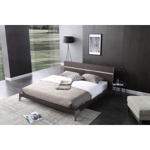 Nova Domus Ria Contemporary Brown Eco-Leather & Stainless Steel Bedroom Set