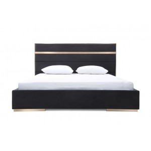 Nova Domus Cartier Modern Black Velvet & Brushed Bronze Bed