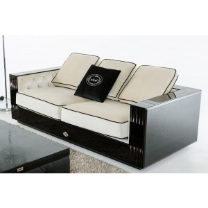 A&X Bellagio Transitional Black Crocodile and Beige Fabric Sofa