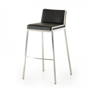Modrest Bailey Modern Black & Walnut Bar Stool