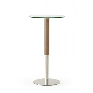 Modrest Wyatt Modern Round Glass & Walnut Bar Table