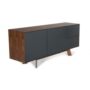 Modrest Weylyn Modern Charcoal Grey & Walnut Buffet