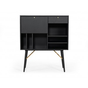 Modrest Billy Modern Black Oak & Gold Tall Buffet