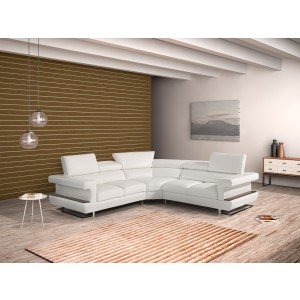 Estro Crosby Modern White Italian Leather Sectional Sofa