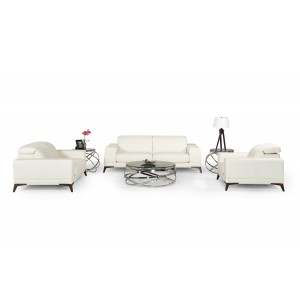 Estro Salotti Bolton Italian Modern White Leather Sofa Set