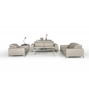 Estro Salotti Bolton Italian Modern Grey Leather Sofa Set