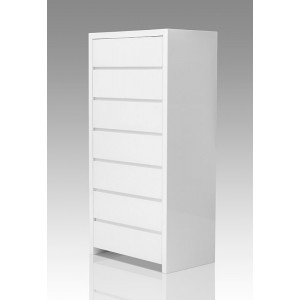 Modrest Bonita Modern White High Gloss 7-Drawer Chest
