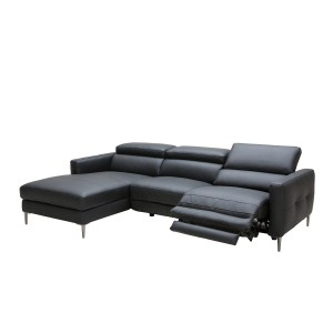 Divani Casa Booth Modern Black Leather Sectional w/ Electric Recliner