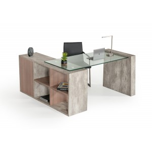 Nova Domus Boston Modern Glass & Concrete Desk