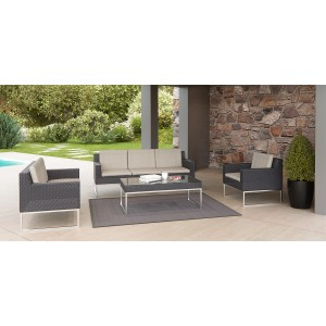 Renava Cabo Outdoor Beige & Black Sofa Set
