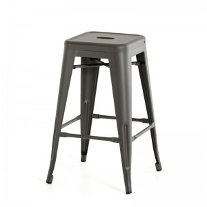 Modrest Dink Modern Grey Metal Bar Stool