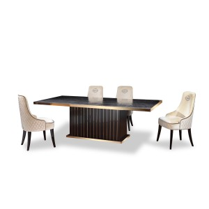 A X Talin Modern Black Crocodile Rosegold Dining Table