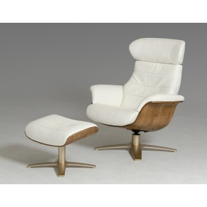 Divani Casa Charles Modern White Leather Reclining Chair w/ Ottoman