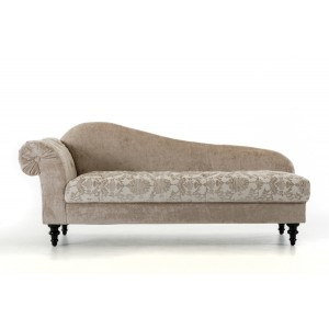 Divani Casa Metropolitan - Transitional Beige Fabric Chaise with Acrylic Crystals