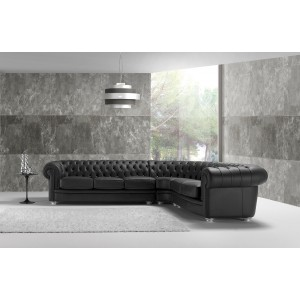 Estro Salotti Chester Modern Black Leather Sectional Sofa