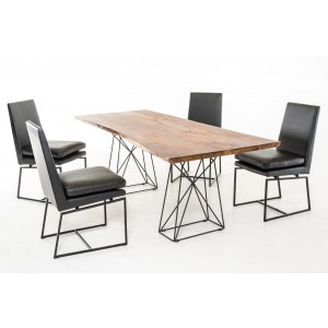 Modrest Chestnut Modern Live Edge Wood Dining Table