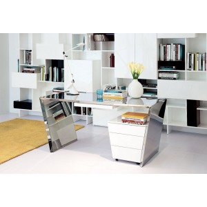 Modrest Clif - Modern Chrome Office Desk & Cabinet