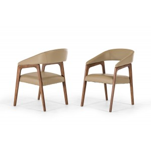Modrest Clive Modern Taupe & Walnut Dining Chair