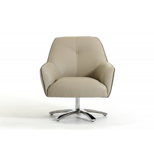 Divani Casa Clover Modern Light Grey and Dark Grey Eco-Leather Lounge Chair