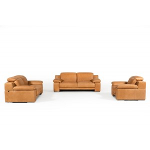 Estro Salotti Evergreen Italian Modern Cognac Leather Sofa Set