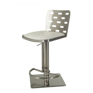 Modrest Cora Modern White & Stainless Steel Bar Stool