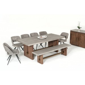 Modrest Amos Modern Concrete & Acacia Dining Table