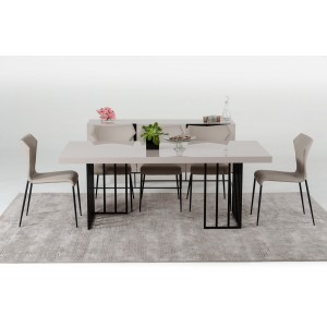 Modern Dining Dining - White and walnut dining table