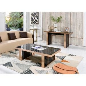 Nova Domus Cartier Modern Black & Rosegold Coffee Table