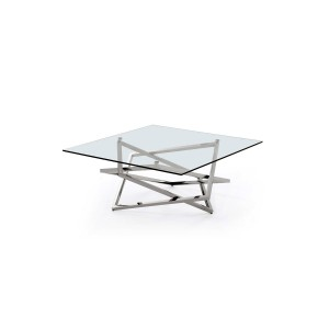 Modrest Blair Modern Glass & Stainless Steel Coffee Table