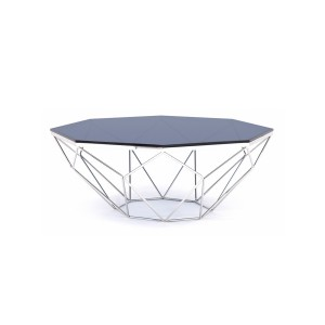 Modrest Octave Modern Smoked Glass & Stainless Steel Coffee Table