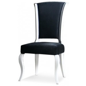 Versus Mia - Black Fabric Side Chair with White Lacquer Frame