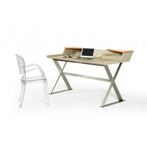 Modrest Bradley Modern Beige Leather and Orange Office Desk