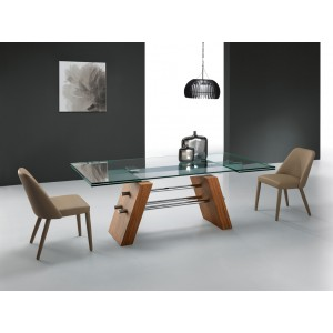 Modrest Bounty Contemporary Glass & Walnut Extendable Dining Table