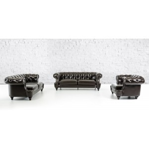 Divani Casa Belinda - Transitional Chocolate Italian Leather Sofa Set