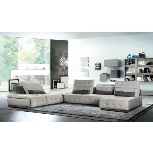 Lusso Daiquiri Italian Modern Light Grey & Dark Grey Fabric Modular Sectional Sofa