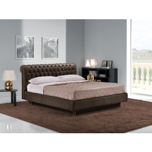 Estro Salotti Davemport Modern Brown Leather Bed