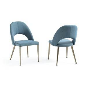 Modrest Gloria Modern Blue & Antique Brass Dining Chair