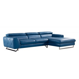 Divani Casa Devon Modern Blue Leather Sectional Sofa
