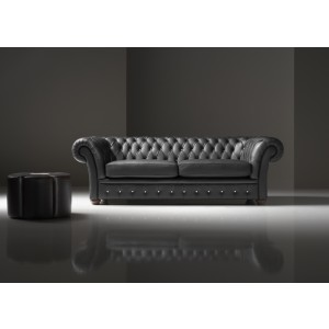Estro Salotti Dorchester Modern Black Leather Sofa Set