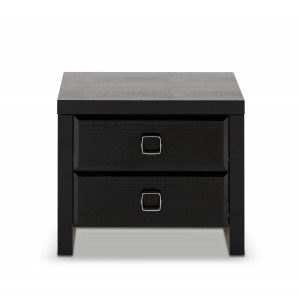 A&X Glam Black Crocodile Nightstand