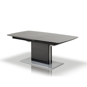 A&X Centro Modern Black Crocodile Dining Table