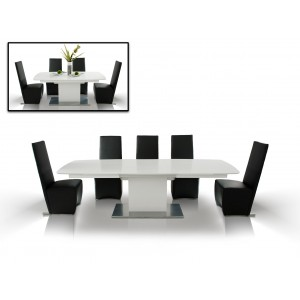 A&X Centro Modern White Crocodile Dining Table