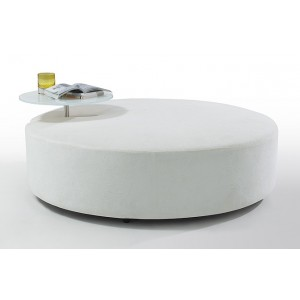 Divani Casa Modern White Fabric Ottoman and End Table