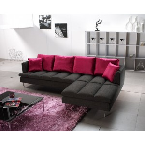 Divani Casa Prego Modern Grey Fabric Sectional Sofa