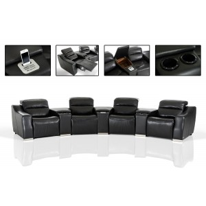Divani Casa Salem Modern Black Eco-Leather Recliner Sectional Sofa with Audio System